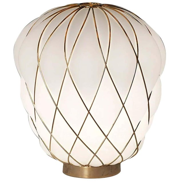 Metal Medium 'Pinecone' Table Lamp in Opaline Glass & Gold Metal for Fontana Arte For Sale - Image 7 of 7