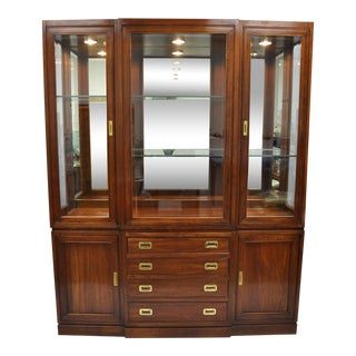 Ethan Allen Cherry Canova Campaign Style China Cabinet Cupboard Hutch Display