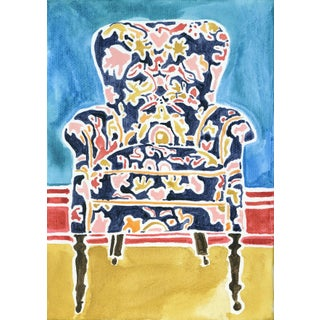 Kate Lewis Navy Chair Original Painting Preview