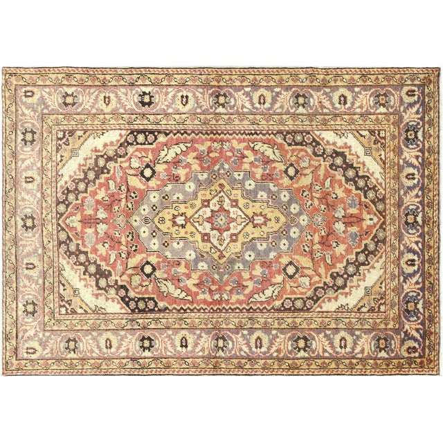 "1960s Turkish Oushak Rug 4'3"" X 5'11"" For Sale"