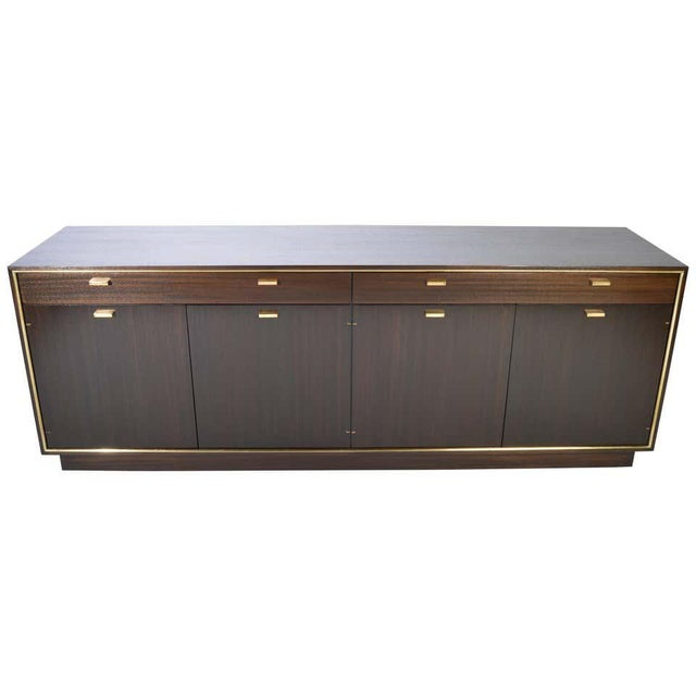 Brown Harvey Probber Credenza in Dark Mahogany Having Brass Embellishments Throughout For Sale - Image 8 of 8