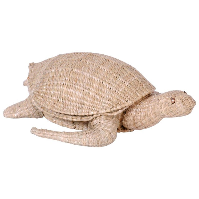 Tan Mario Torres Wicker Turtle For Sale - Image 8 of 8