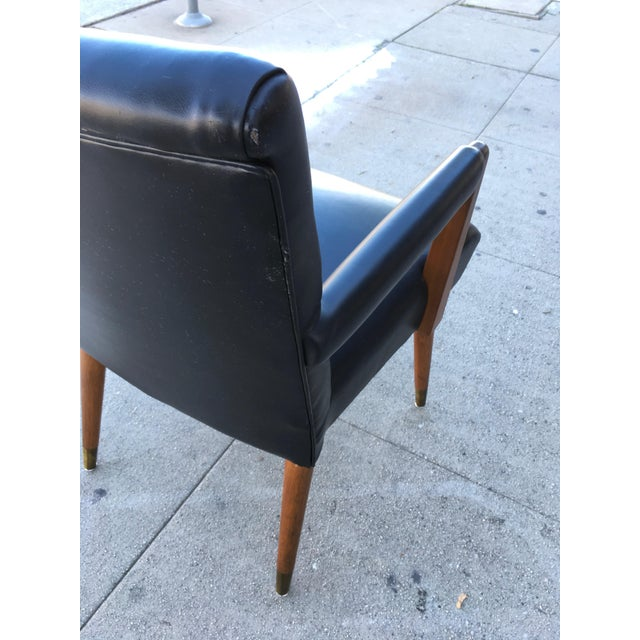 Mid-Century Black Vinyl & Walnut Arm Chair For Sale In Los Angeles - Image 6 of 9