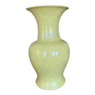 Large Chartreuse Crackle Glazed Vase For Sale