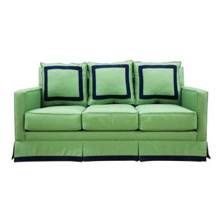 "75"" Sofa, Performance Kelly Green Linen With Navy Trim Detail For Sale"