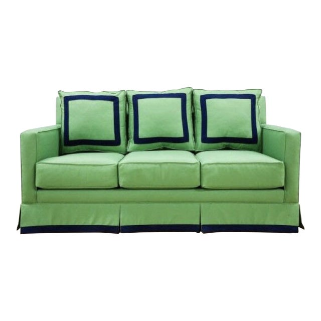 """75"""" Sofa, Performance Kelly Green Linen With Navy Trim Detail For Sale"""