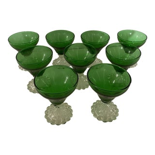 Anchor Hocking Green Sherbet Glasses - Set of 9 For Sale