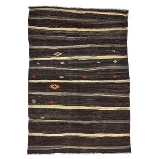 "Vintage Striped Brown Kilim Rug-6'2'x9"" For Sale"