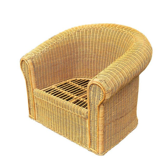Round Wicker Bamboo Rattan Trompe l'Oeil Ghost or Draped Lounge Set 3 Pieces 1970s For Sale - Image 6 of 12