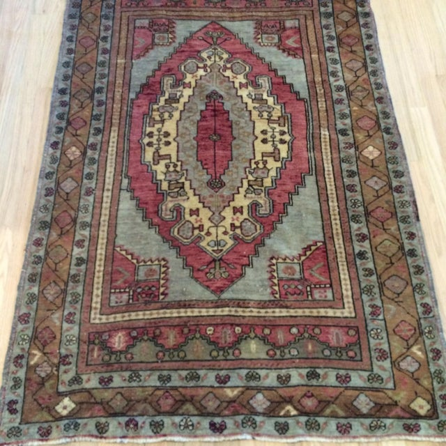 "Antique Turkish Blue & Red Rug - 4' x 5'9"" - Image 5 of 7"