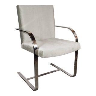 Mid-Century Modern Chrome Brno Armchair Smoked Platinum Velvet For Sale