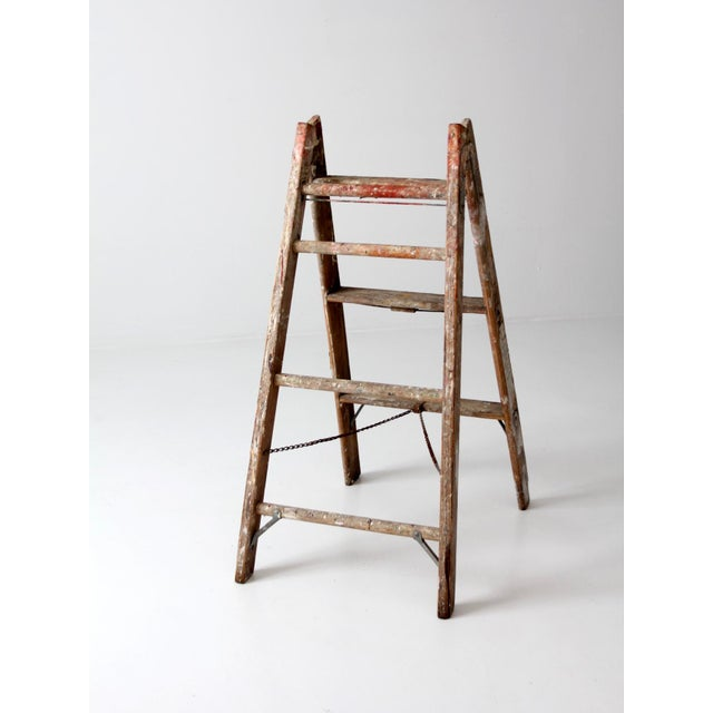 Vintage Wooden Folding Ladder For Sale - Image 5 of 11