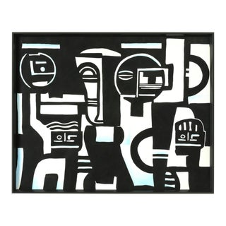 "Parisian Art Deco ""Quartet Silk Panel"" Cubist Figures Framed Silk Panel Painting For Sale"