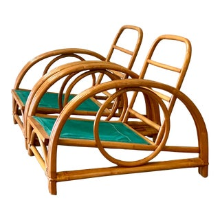 Vintage Coastal Ficks Reed Circle Lounge Chairs For Sale
