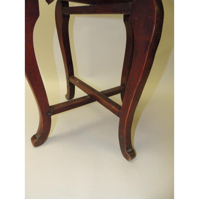 Animal Skin Round Asian Side Table With Carved Apron and Turned Wood Legs For Sale - Image 7 of 8