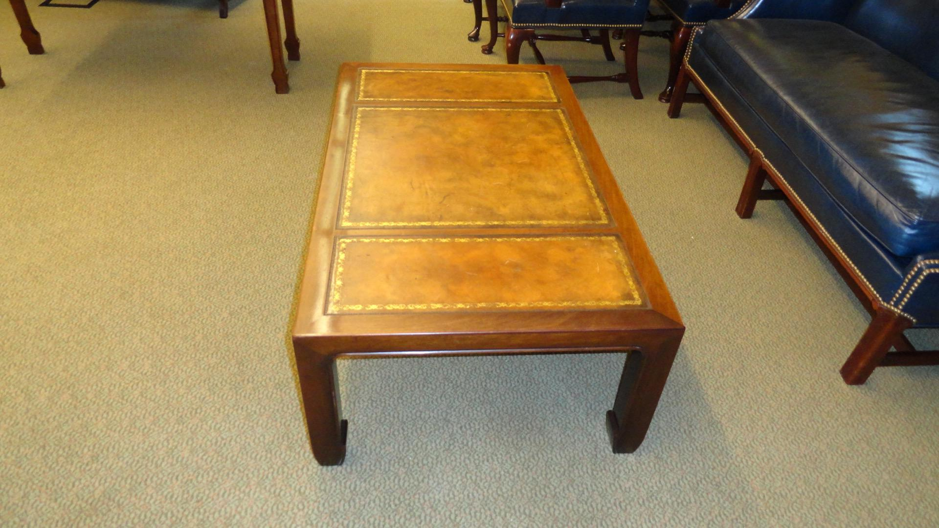 Leather Topped Baker Furniture Coffee Table. Moderate Wear. Some Scratches  And One Small Burn