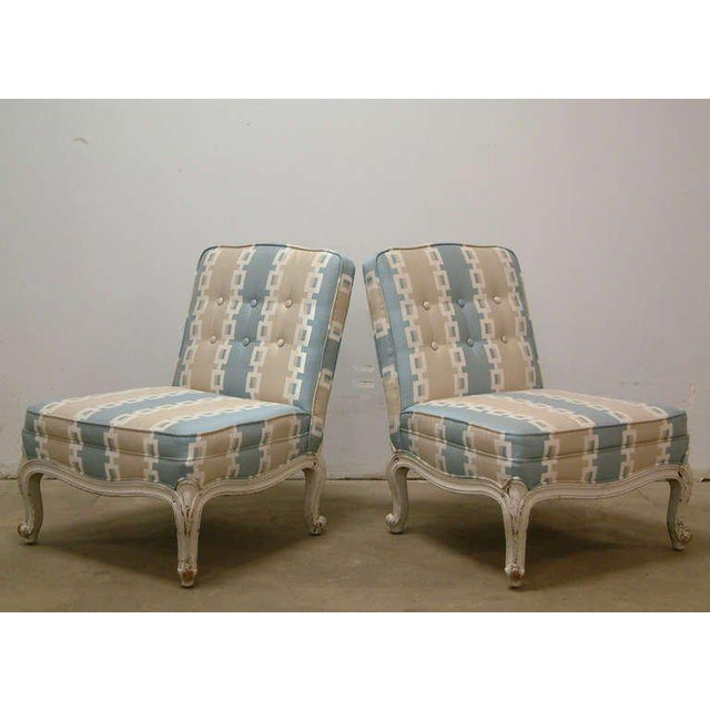 Circa 1950 French Provincial Drexel Blue, Cream and White With Anna French Cotton Twill Fabric Boudoir Chairs - a Pair - Image 5 of 11