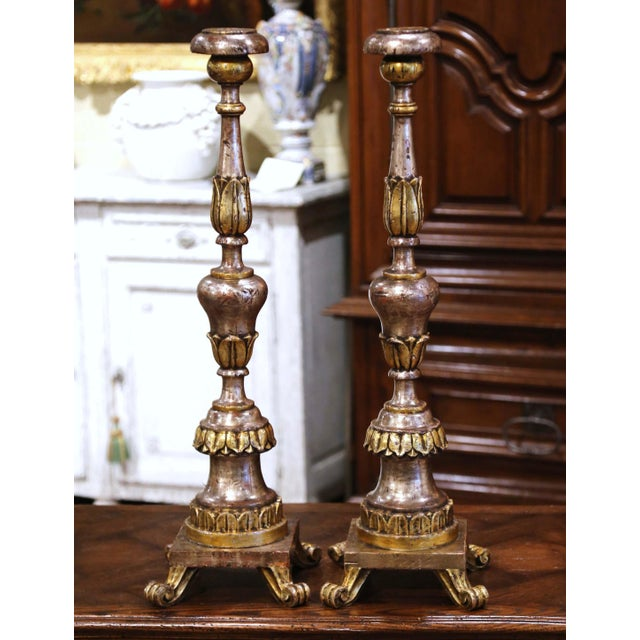 These elegant antique Pic-Cierges were created in Italy circa 1880. Standing on four scrolled feet over a square base,...