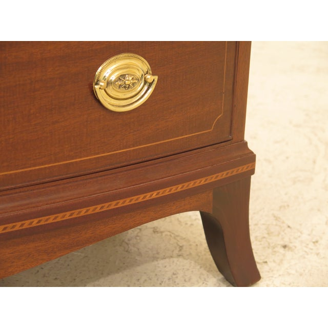 Wood 1960s Federal Biggs Inlaid Mahogany 4 Drawer Bow Front Chest For Sale - Image 7 of 13