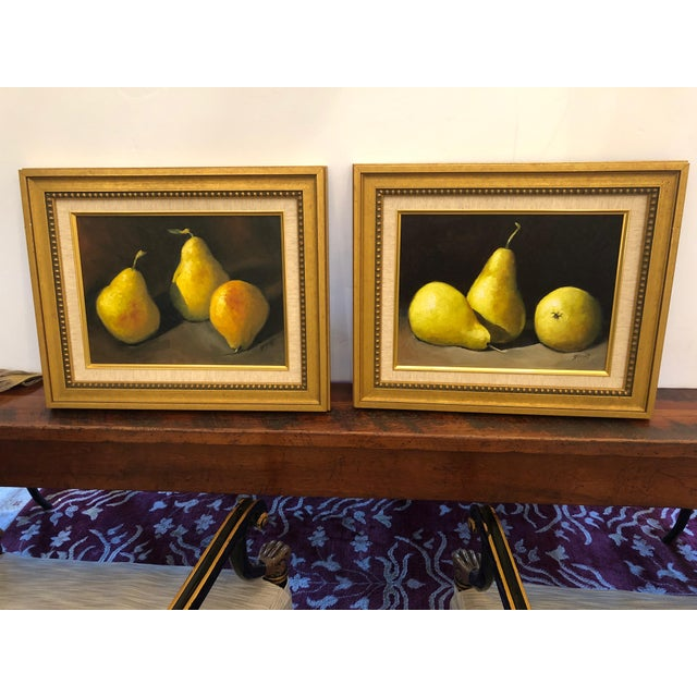 Green Realistic Still Life Paintings of Pears - a Pair For Sale - Image 8 of 8