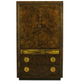 Image of Mastercraft Burl and Acid Etched Brass Wardrobe Cabinet For Sale