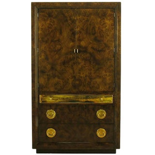Mastercraft Burl and Acid Etched Brass Wardrobe Cabinet For Sale