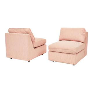 Postmodern Pink Slub Slipper Chairs - a Pair For Sale