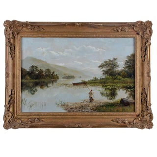 19th Century Antique British School Fishing Scene Oil on Canvas Painting For Sale