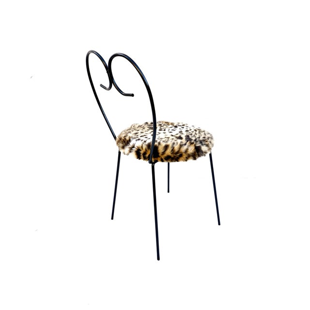 Mid-Century Heart Shaped Metal & Leopard Faux Fur Vanity Chair - Image 3 of 11