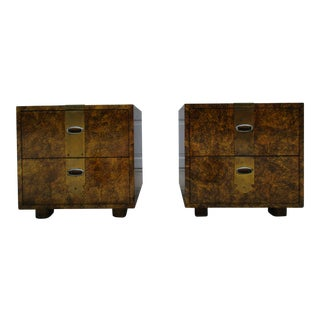 Henredon Faux Tortoise Nightstands - a Pair For Sale
