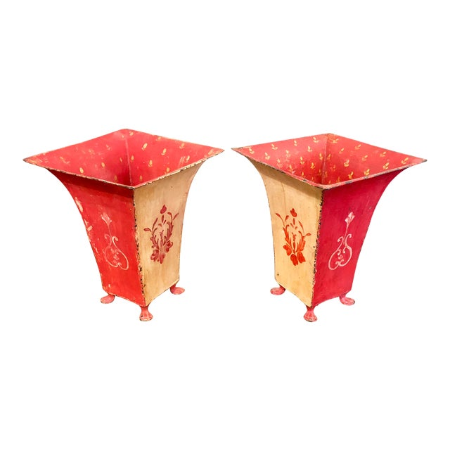Mid-Century Red Tole Jardeniere Planters - a Pair For Sale