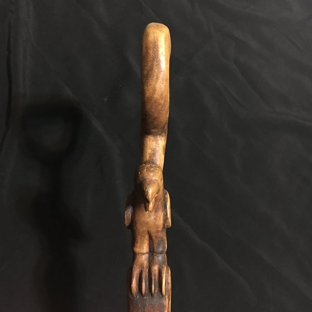Hand Carved Vintage Walking Stick with Parrot - Image 6 of 9