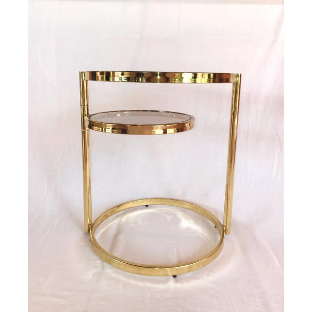Hollywood Regency Brass and Smoked Glass Swivel Side Table by Dia, 1970's For Sale - Image 11 of 13