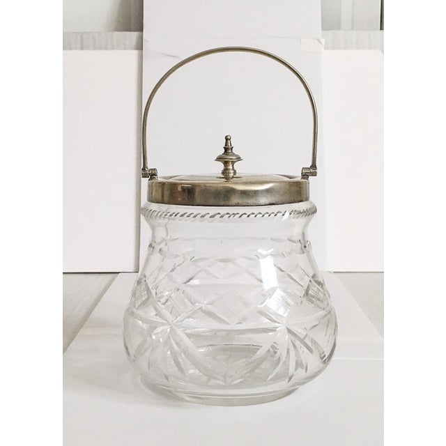 1930s Slack and Barlow English Cut-Glass and Silver Biscuit Jar For Sale - Image 11 of 11