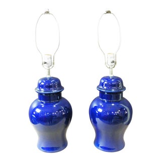 Sapphire Blue Lamps - a Pair