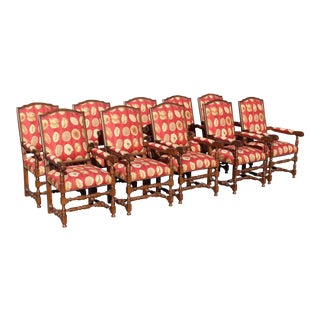 17th Century European Style Red Floral Fabric Dining Chairs - Set of 10 For Sale