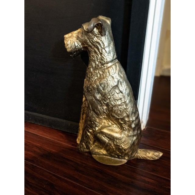 Art Deco Vintage Maitland Smith Brass Scottish Terrier Doorstop Life Size Statue For Sale - Image 3 of 9