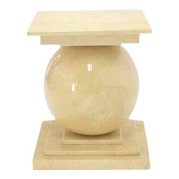 Vintage Mid Century Lacquered Parchment Pedestal Table Base For Sale