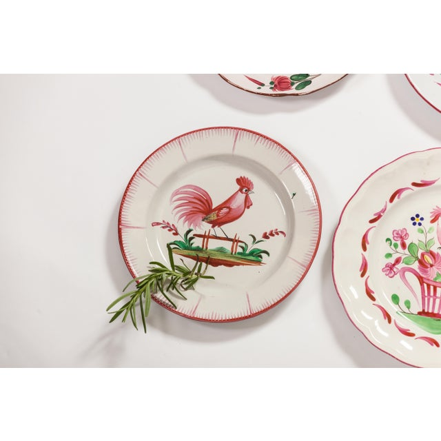 Ceramic 6 Piece Rooster Themed Pottery Plates For Sale - Image 7 of 8
