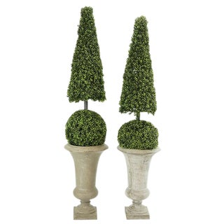 1970's Vintage Faux Topiary in Stone Composite Urns For Sale