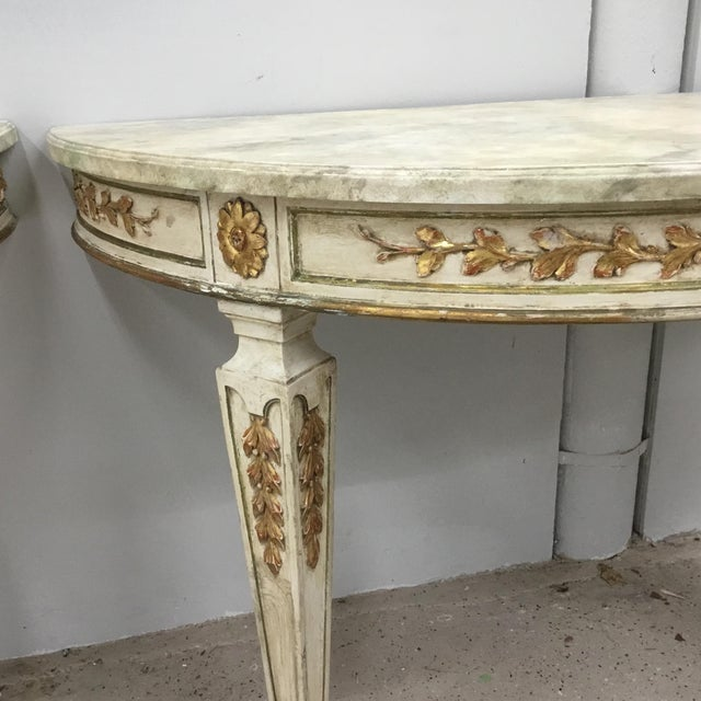1920s Italian Painted Carved and Gilt Demi Lune Console Tables - a Pair For Sale - Image 4 of 13