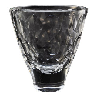 1970s Ingeborg Lundin for Orrefors Heavy Leaf Cut Crystal Oval Vase, Pattern 3935 For Sale