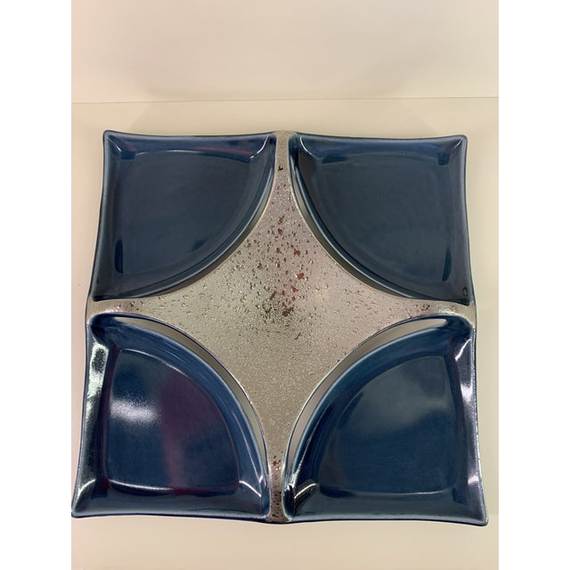 Japanese Japanese Navy Blue and Platinum Porcelain Dish For Sale - Image 3 of 8