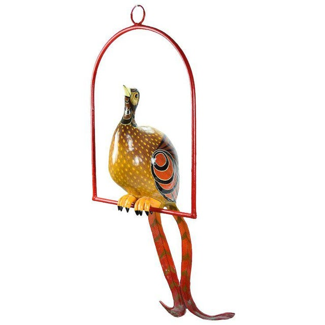 Red Vintage Sergio Bustamante Limited Edition Paper Mache Tropical Bird Sculpture For Sale - Image 8 of 8