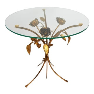Italian Gilt Tole Floral Side Table For Sale