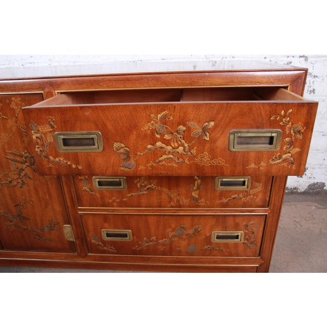 Gold Drexel Heritage Hollywood Regency Chinoiserie Long Dresser or Credenza For Sale - Image 8 of 13