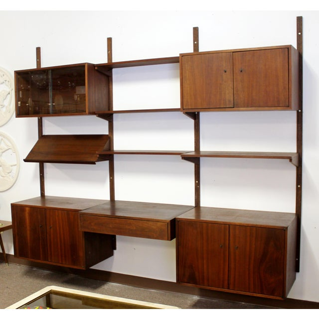Poul Cadovius Mid Century Modern Danish Cado Walnut Wall Unit by Poul Cadovious For Sale - Image 4 of 8