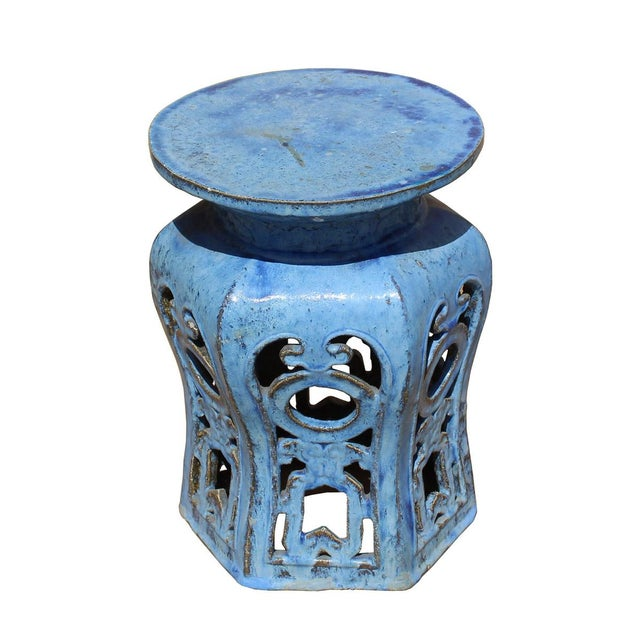 Chinese Distressed Blue Round Ru Yi Clay Ceramic Garden Stool - Image 6 of 7