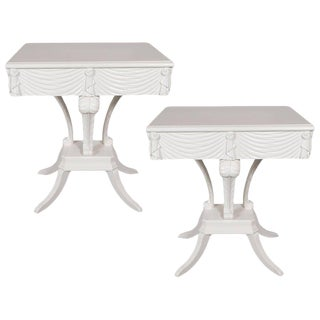 Pair of Hollywood Regency Grosfeld House White Lacquer End Tables or Nightstands For Sale