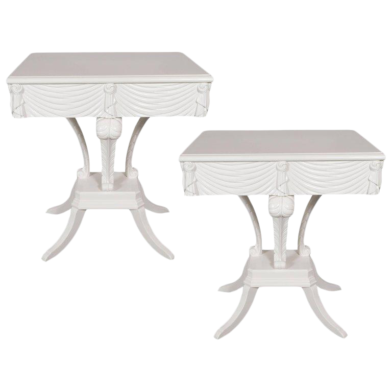 Distinguished Pair Of Hollywood Regency Grosfeld House White Lacquer End  Tables Or Nightstands | DECASO